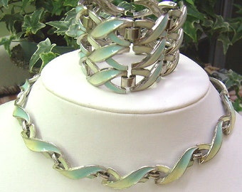 Summer Sale...Vintage Aqua/Yellow Enamel Bracelet...Matching Necklace...Braided Two Tone Enamel...Free Earrings