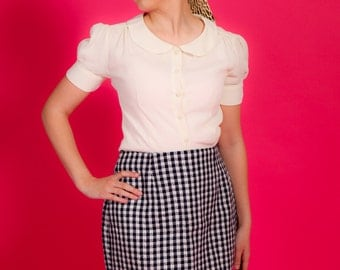 40s 50s 60s Vintage navy blue & white check pencil skirt by Stephen Peters