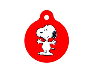 EVERYONE LOVES SNOOPY Dog Tag Pet Id Tag Engraved 20 Fonts Available Personalized Charm Key Ring