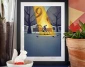 Goldfinger. Illustration art giclée print signed by the artist. 30x40cm.