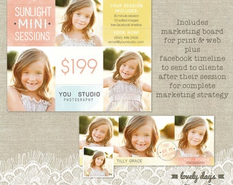Mini Session Template Marketing Board for Photographers PLUS Facebook Timeline INSTANT DOWNLOAD