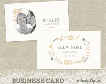 Photography Business Card Template for Photographers and Boutique Business INSTANT DOWNLOAD