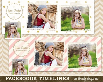 Facebook Timeline Template Designs Set of 2 for Photographers INSTANT DOWNLOAD