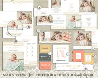 Marketing Set Branding Templates for Photographers with Business Card Letterhead Gift Certificate and More INSTANT DOWNLOAD