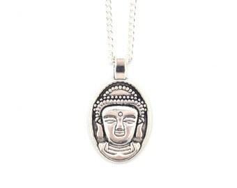 Buddha Charm Necklace, Silver Buddha Necklace, Buddha Pendant,
