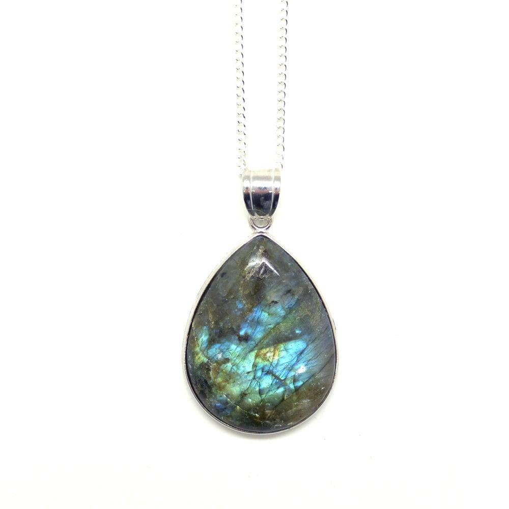 labradorite teardrop pendant labradorite necklace silver