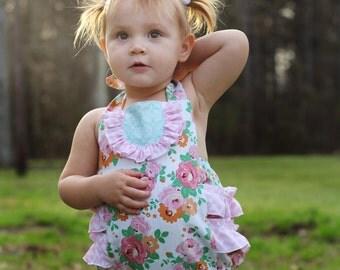 Floral Bubble Romper - Pink - Newborn-24 mos