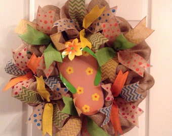 Summer Wreath/ Flip Flop Wreath/ Summer Burlap Wreath/ Burlap Flip Flop/ Flip Flop Door Hanging