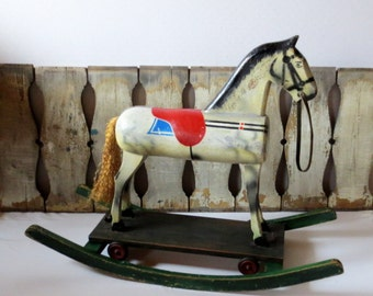 Antique Rocking Horse Collectible Wood Riding Horse