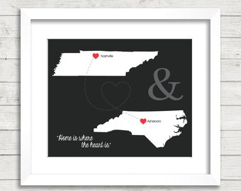 8x10 USA Love Maps - Nashville, Tennessee - Asheboro, North Carolina - Two States, One Print - Any States - Long Distance Love - Engagement