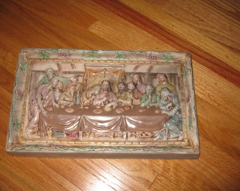"LAST SUPPER PLAQUE (1940'S ?) Holland Mold 8 1/2"" x 14"" Original Finish Beautiful Colors"