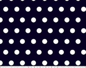 Tiny Dot --- Navy Polka Dot Fabric ----100 Percent Cotton --- Fabric By The Yard