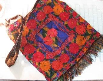 Boho Tapestry Cross Body Bag Fringe - Fall Colors