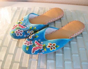 1960s Beaded Blue Velvet Slippers Size 6 Hong Kong