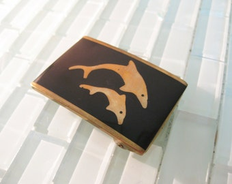 Dolphin Brass Belt Buckle - Black Inlay