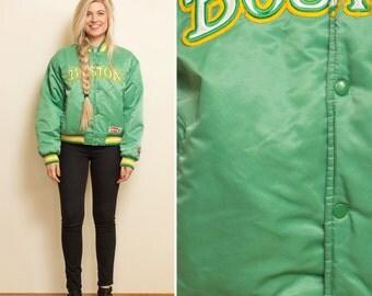 BOSTON jacket- Vintage CELTICS 80s 90s BOMBER jacket green yellow basketball xl Boston mens womans unisex jacket