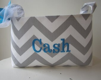Custom Order for Amy - Small Fabric Bin - Diaper Caddy - Monogrammed - Elephant Fabric - Mizzou burp cloth