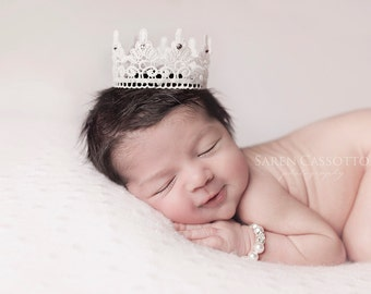 Newborn Lace Crown, Photography Prop, Swarovski Crystals