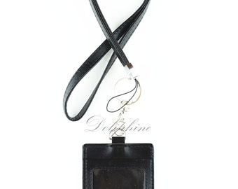 Lanyard & Vertical ID Badge Holder 4 layers PU Leather