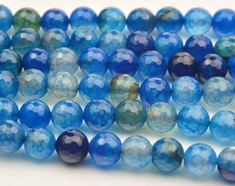 """15""""   Blue  Faceted  Dragon  Veins  Agate  Round  Beads , 10mm"""