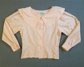 1980's, pilgrim collar, blouse, in pale, ballet pink, Women size Small