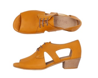 Yellow leather women's sandals wide lace up Peep toe with geometric cutout and chunky heels On Sale 15% off