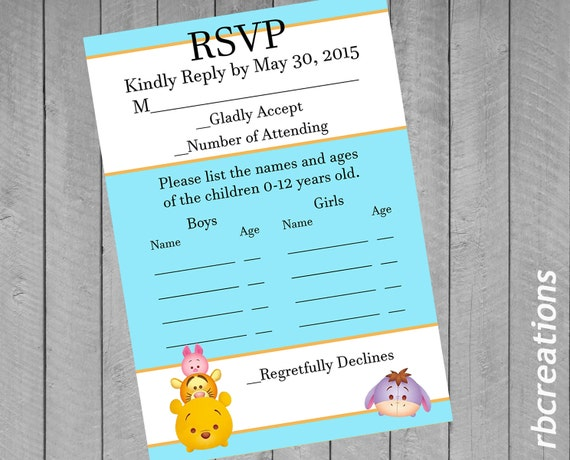 Winnie the Pooh RSVP Tsum Tsum Party Birthday RSVP Card – Birthday Rsvp Cards