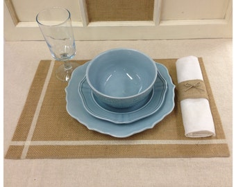 """Burlap Placemats with stripe  12"""" x 18""""  with hem & serged - sets of 4, 6, or 8"""