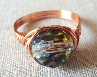 Czech Bead Ring, Unique Rings, Copper Wire Ring, Wire Wrap Ring, Prism Ring, Birthday Gift for Best Friend, Homemade Jewelry, Glass Ring