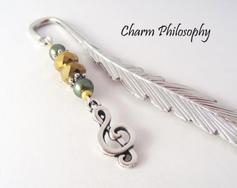 Music Note Bookmark - Beaded Tibetan Silver Charm Bookmark - Treble Clef Charm - Musician Gifts - Music Teacher Gifts
