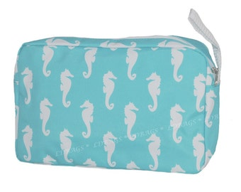 Aqua Seahorse Accessory Cosmetic Make Up Bag with Free Embroidery
