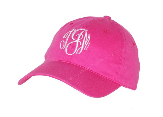 personalized monogrammed pink baseball hat by