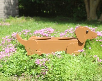 Dachshund Feeder / Planter, Available in Brown or Black