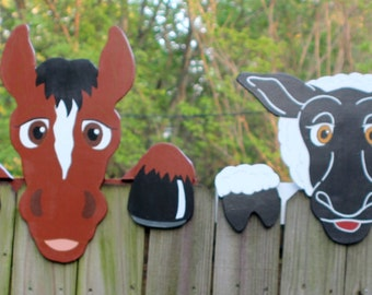 Set of 4, Farm Animals Fence Peekers, Pick from Cow, Horse, Sheep, Donkey, Pig, or Goat.