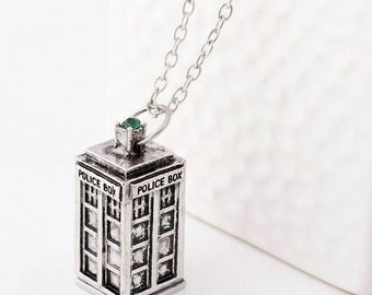 Doctor Who Tardis Pendant Necklace - geek jewelry - blue stone - blue box - police box - doctor who - christmas gift ideas - geek wear - fan