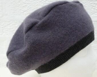 Beret tam hat city accessory gift womens small hat winter grey cashmere purple goth ladies soft accessory winter warm handmade eco-friendly.