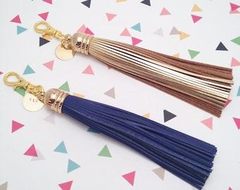 Long Leather Tassel Keychain