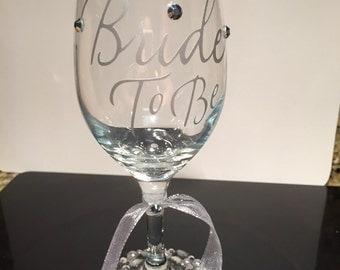 Wedding Wine Glass with Rhinestones