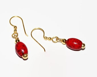 Red Magnesite Earrings, Gold Plated Copper Earrings. Gift for Her, Valentine's Day Gift