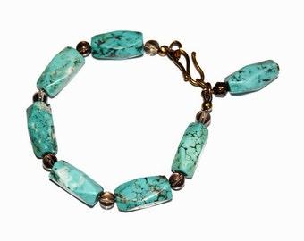Turquoise Howlite and Smokey Quartz Bracelet