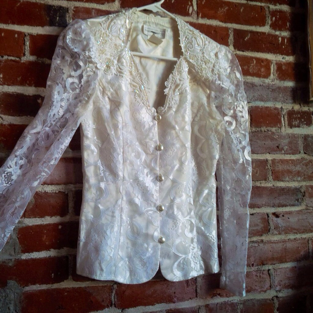JESSICA McCLINTOCK Bridal Lace Sequin Victorian Southern Belle