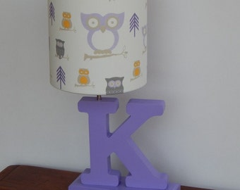 Handmade White and Lilac/Purple Owl Lamp Shade - Great for Nursery or Kid's Room