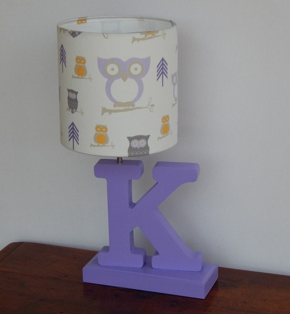 Handmade White and Lilac/Purple Owl Lamp Shade Great for