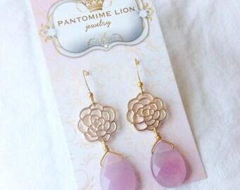 Pink Jade Flower Earrings