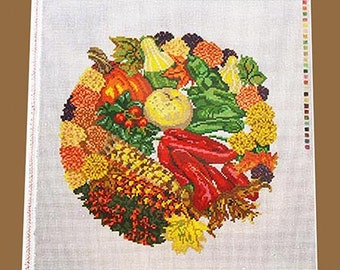 Autumn's Bounty Needlepoint Canvas, Needlepoint Designs, Stitchpainted Needlepoint, Hand Painted Needlepoint, Painted Needlepoint Canvases