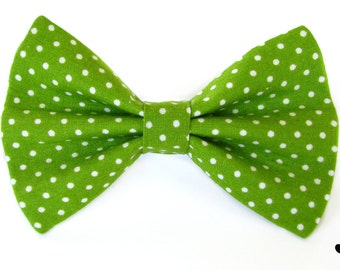Lime green polka dot cat bow tie & dog bow tie