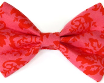 Pink and Red Damask - cat bow tie, dog bow tie, pet bow tie