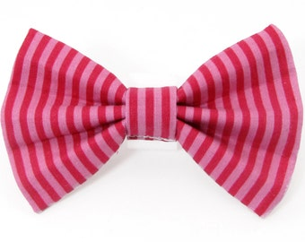 Pink two tone stripe - cat bow tie dog bow tie