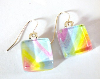 OOAK Rainbow Glass Tile Earrings Wire Love Wins Recycled Material Repurposed Magazine Upcycled Paper Hooks Colorful Art Teacher Jewelry