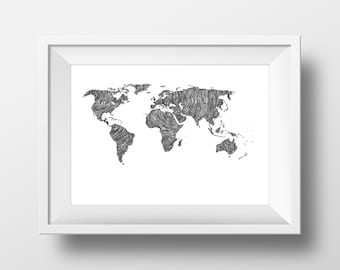 World Map -  Line and Circle Illustration Print - Ink- Drawing - Art